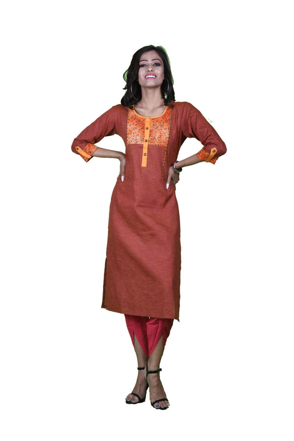 Picture of Mfab9 casual cotton kurta with floral neck design